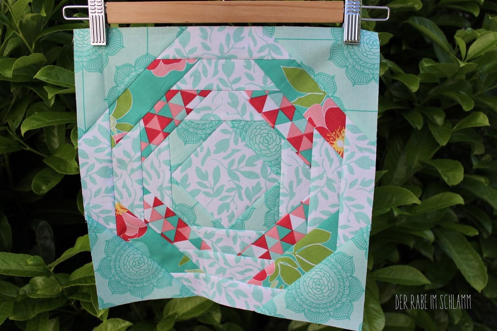 Der Rabe im Schlamm, Pineapple Quiltblock, Quilt, Patchwork, 6 Köpfe 12 Blöcke