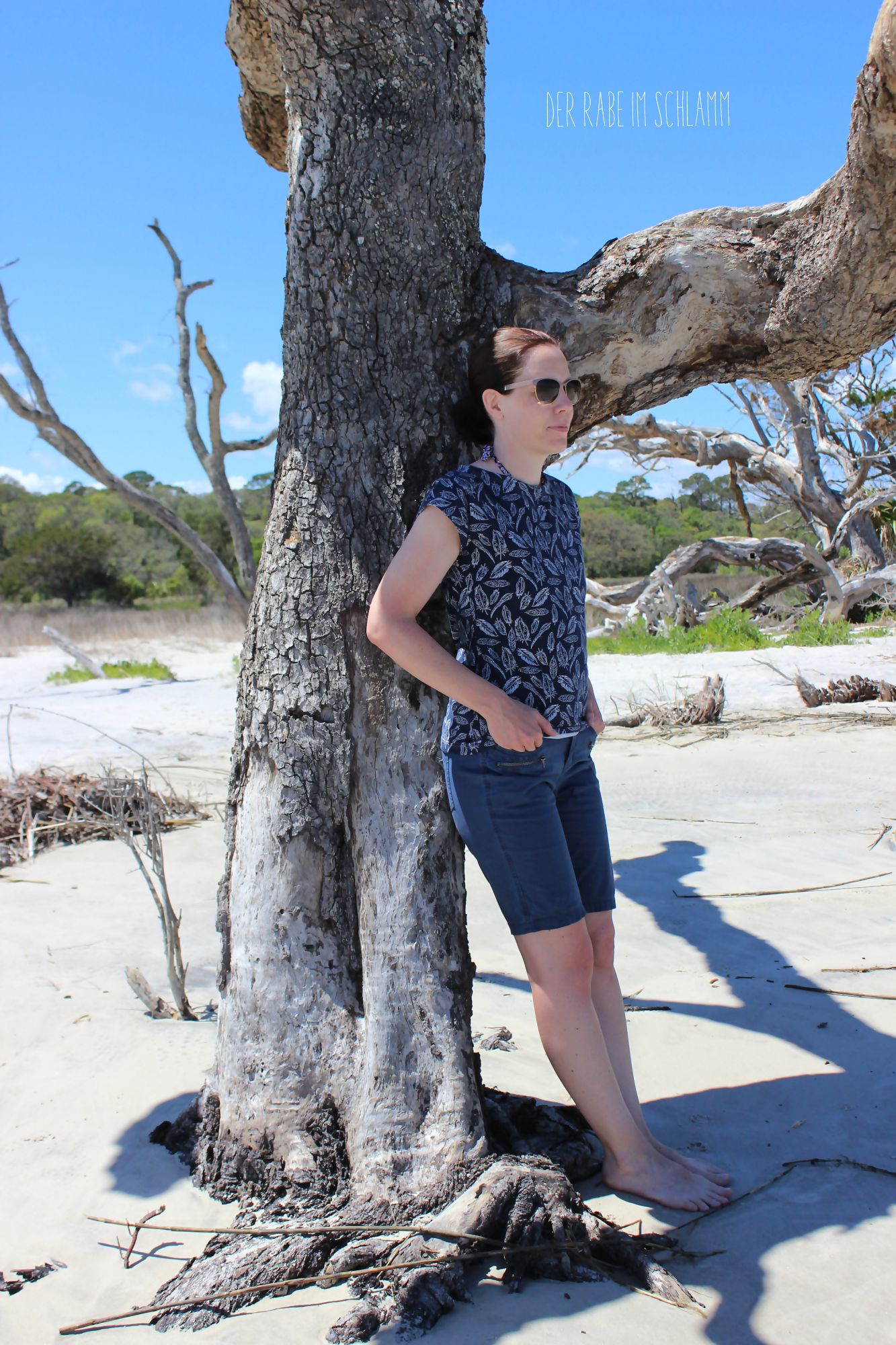 Der Rabe im Schlamm, Kimono Tee, Nähen, Schnittmuster, Damen, Art Gallery Fabrics, Petal and Plume, Driftwood Beach
