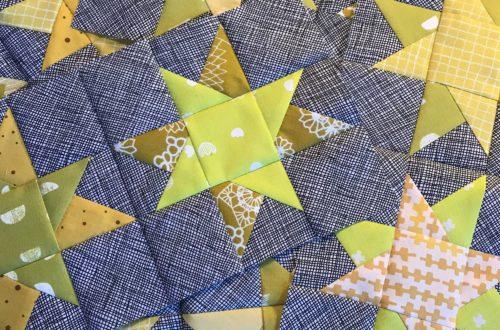 Der Rabe im Schlamm, Quilt, Patchwork, Wonky Stars, 6 Köpfe 12 Blöcke, Row by Row Quilt