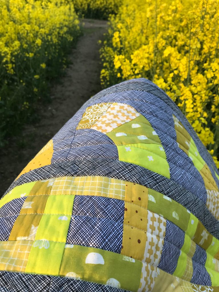 Row by Row Quilt gelb 6 Köpfe 12 Blöcke 2018