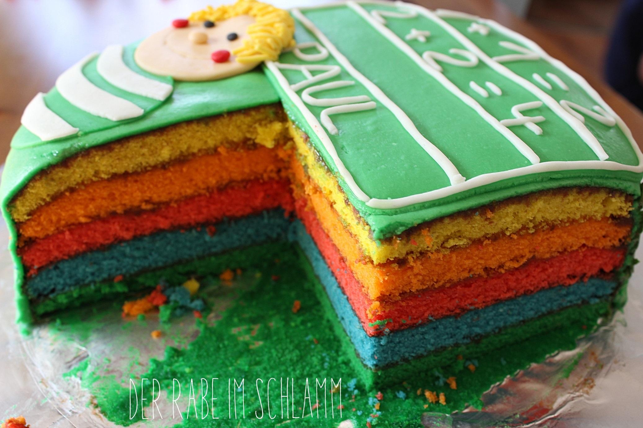Einschulung, Torte, Regenbogentorte, Der Rabe im Schlamm
