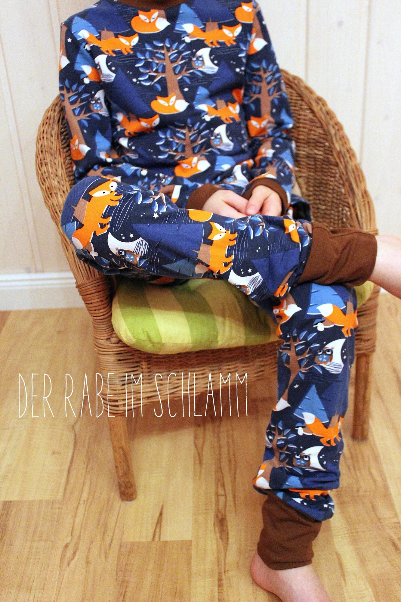 Schlafanzug, Tomboy, farbenmix,  Der Rabe im Schlamm, Nähen, Schnittmuster, Kinder, Jungen