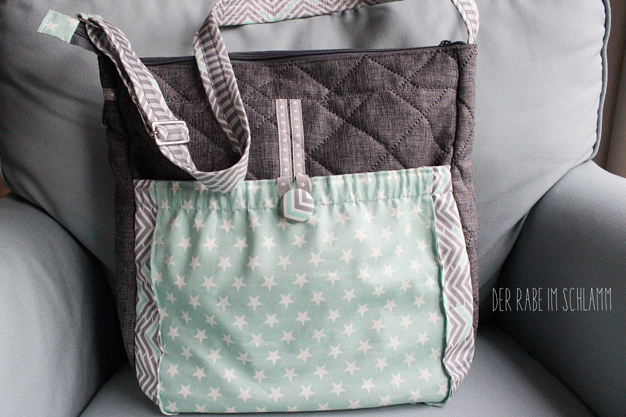 Wickeltasche, Skippy, farbenmix, Der Rabe im Schlamm, Nähen, Taschen, Geschenk, Geburt